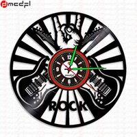 Wall Clocks Home Living Rock Music Guitar Jazz Design Black LP Record Clock 12 Inch Mute LUMINOVA Quartz Watch Gifts
