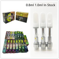 GLO Cartridges Vape Pen 0.8ml 1.0ml Atomizer Ceramic Coil Carts Packaging 510 Thread Disposable E Cigarette Pens Glass Vaporizer Empty Oil Cart Reflective Box