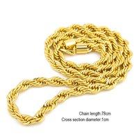 Collier tordu à corde longue en corde longue de 10mm d'épaisseur à 76 cm de corde longue en plaqué or pour hommes 92 U2