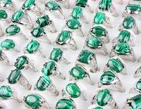 Wholesale Bulk 36Pcs Rings Band Mix Style Green Malachite Gem stone Tibet Silver Plated finger Ring Women Men Wedding