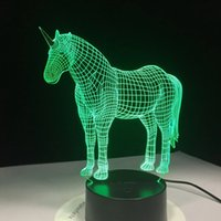Unicorn 3D LED Night Lights с 7 цветами Света для украшения дома Удивительная визуализация Оптическая иллюзия Удивительная голограмма