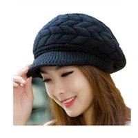 Широкие Breim Hats ozyc Женщины зимние теплые шапочки флис внутри вязаные для женщины кролика меховой кепкой осень и дамы мода mn1b