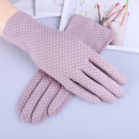 Five Fingers Gloves Female Summer UV Sunscreen Cotton Short Sun Women Fashion Flowers Knitted Lace Driving Touch Screen Thin Glove