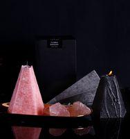 향기로운 북유럽 기하학 원뿔 재 스민 로즈 아로마 테라피 에센셜 오일 촛불 오래 지속되는 홈 침실 양초 DWA2484