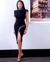 في ضمادة 2021 اللباس الحزب أنيق في الليل يرتدي فيرو الإناث الخطيئة مثير الشتاء العالي الأسود ميدي