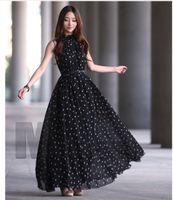 Casual Dresses Designer Sleeveless Dress, Dot Chiffon Vest Wide Swing Skirt, Stand Collar (belt Free)