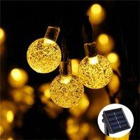 10m lâmpada solar de cristal bola levou luzes de corda flash waterproof feija de fadas para jardim ao ar livre natal decoração de casamento proofumamentos