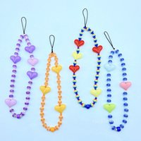Ins mobile phone chain European and American personality color acrylic rainbow bead mobile phone lanyard female Pendant T2I52784
