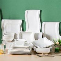 Malacasa Flora Series 26 قطعة من السيراميك الخزف الأبيض الخزف مائدة أدوات المائدة مع 6 * لوحة عشاء حساء الحلوى و 2 * مجموعة لوحات مستطيلة الخدمة لمدة 6 شخص