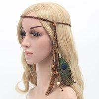 Indiase veer hoofdtooi haaraccessoires vrouwen hippie verstelbare hoofddeksels boho peacock feather haarband DIY