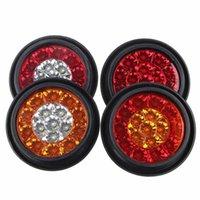 12V 16 LED Car Births Runde Bernstein Rote Rücklichter Heck Nebelscheinwerfer Anschlag Bremse Laufende Rückfahrlampe Für LKW Anhänger LKW