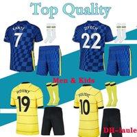 21 22 Pulisic Adulte Kids Kits Soccer Jerseys Set Homme Kovacic Willian Jorginho Giroud Kante Werner 2021 2022 Mount Home Football Shirts