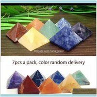Gevşek Boncuklu Jewelrypack 7 Çakra Piramit Set Kristal Şifa Wia Maneviyat Oymalar Doğal Taş Kare Kuvars Turkuaz Taş Dro