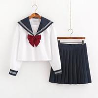 의류 세트 일본 학교 유니폼 스커트 선원 복장 의상 JK 정장 소녀 Pleated Anime Cosplay 여학생 탑스