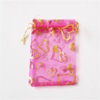 Chaud ! 100pcs Bijoux Emballage Rose Coeur rouge Organza Pouch Faveur de mariage Sacs cadeaux 7x9cm / 9x12cm / 13x18CM51 Q2
