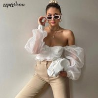 Ruched Ruffles Blouses Womens Card Shoulder Lantern Long Sleeve Strapless Slim Short Shirts For Female Fashion Clothes 2021 Women's &