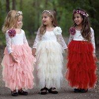 الفتيات اللباس الصيف الدانتيل منتفخ طويل الأكمام طاقم الرقبة ناعمة مريحة الأميرة تنورة