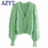 여성용 니트 티 아즈 고품질 V 넥 니트 카디건 여성 2021 가을 패션 플러시 공 솔리드 스웨터 여성 캐주얼 대형