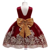 Girls Dresses Princess Wear Kids Clothes Children Child Clothing Birthday Embroidered Sequin Bow Party Formal Pageant Dress B7257