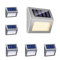6 LED Solar Passo Lâmpadas Luzes de Iluminação Ao Ar Livre Luzes Quentes Decoração de Aço Inoxidável Branco para Deck Cerca Patinho Pátio Auto On / Off Weatherproof
