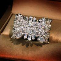 솔리드 14K 화이트 골드 링 자연 화이트 다이아몬드 반지 여성용 고급 Anillos 드 실버 컬러 925 쥬얼리 웨딩 Bizuteria