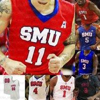 Benutzerdefinierte SMU Mustangs Basketball-Trikots Tyson Jolly Isiaha Mike Feron Jagd Ethan Chargois CJ White Emmanuel Bandoumel