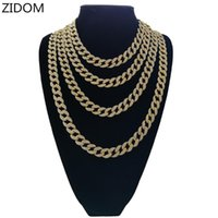 Men Hip Hop Iced Out Bling Chains Necklaces Full Rhinestone CZ Miami Cuban Chain Necklace Hiphop Unisex Jewelry Gifts
