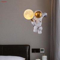 Nordic Creative Spaceman Astronot Reçine PLA Ay Topu Duvar Lambası Çocuk Yatak Odası Başucu Aplik Çocuk Koridor LED Gece Işıkları