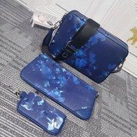 Cross Body Bags + Portefeuille Blauw Afdrukken Designer Bag Verwijderbare Munt Portemonnee Lederen Dip Patroon Onthullen Gepersonaliseerde Customization Style Clutch Snelle levering