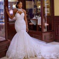 2022 Arabic Aso Ebi Vintage Lace Beaded Wedding Dresses Sheer Neck Mermaid Bridal Dresses Sexy Cheap Wedding Gowns Dress
