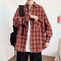Men's Dress Shirts Autumn Long Sleeve Plaid Shirt Boys Korean Hip Hop Handsome Casual Chic Coat