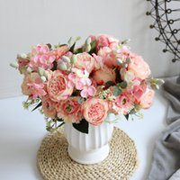 Bundle Silk Rose Peony Artificial Flowers Bridal Bouquet High Quality Diy Home Wedding Decoration Fake Flower Decorative & Wreaths