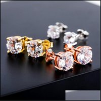 Jewelry4 6 8 Mm Round Cz Cubic Zirconia S925 Sterling Sier Stud Earring 18K White Gold Hip Hop Jewelry Iced Out Earrings Studs For Men And D