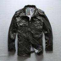Мужчины Avirexfly Мотоцикл Кожаная Рубашка Куртка Мужской Черный Блоз Тонкая подлинная Овчина Плотный стиль езда Байкер Куртки Мужской Faux