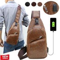 Backpack Men's Leather Sling Pack Chest Shoulder Crossbody Bag Biker Satchel