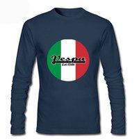Uomini Cool Punk Divertenti Camicie Rock Mens Abbigliamento Eam Vespa Bandiera Italian Bandiera Moto Casual Casual T shirt a maniche lunghe