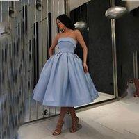 Donkerblauw korte prom jurken satijn baljurk eenvoudige avondjurk elegante homecoming jurk formele feestkleding voor gilrs