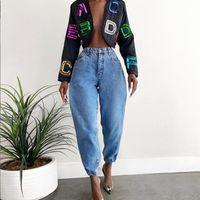Women's Jeans 2021 Harem Pants Vintage High Waist Baggy Woman Femme Full Length Cowboy Denim Cargo Women