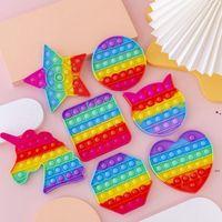 NEWDecompression Relieve Autism Fidget Reliver Stress Toys Rainbow Push It Bubble Adult Children Antistress Sensory Toy EWF7206