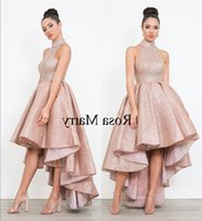 Rose Gold Sequined Arabic Short Prom Dresses 2020 High Neck Plus Size High Low Cheap African Girls Formal Pageant Evening Party G