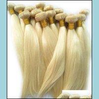 Estensioni di wefts Prodotti Bundlesbrazilian Bundles umani 3PCS 613 Colore biondo Remy capelli Dritto 12-26 pollici, consegna a goccia 2021 UXBS2