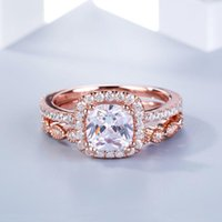 Wedding Rings Luxury Female White Bridal Ring Set Rose Gold Silver Zircon Filled Jewelry Promise CZ Stone Engagement For Women