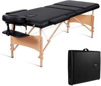 3 секции массажный стол / кровать, профессиональный портативный курортный стол, высота, регулируемая высота с переносной сумкой (черный)