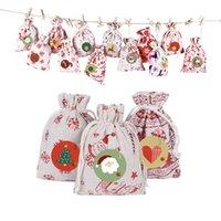 Pamuk Keten Hediye Çantası 10 * 14 cm Noel Ağacı Süslemeleri 24 adet / takım Kırmızı Yıldız Mavi Golden Elk Jingle Bell Santa Kar Çerezleri Paketleme