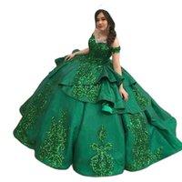 Emerald Green Ball Gown Quinceanera Dresses 2022 Floral Lace Ruffle Bling Satin Off The Shoulder Sweet 16 Dress Vestidos De Prom Graduation