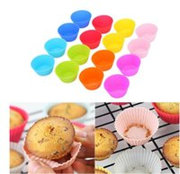 7cm Silicone Muffin Cupcake Moulds cake cup Round shape Bakeware Maker Baking Mold Colorful Tray Liner Molds