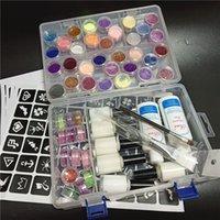 45 Color Powder Shimmer Glitter 6 Colle 2 Pennelli 5 Stencil 2 Acqua di pulizia per il corpo del tatuaggio temporaneo Bambini viso Fai da te Arti del chiodo