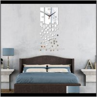Décor Home & Gardenwholesale Promotion Modern Wall Clocks Mirror Design Real Diy Watch 3D Crystal Clock Sticker Living Room Decor Drop Deliv