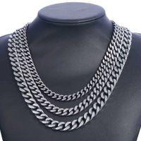 DavieSlee Herren Halskette Stainlsteel Kette für Männer Gunmetal Bordsteinkubanische Link 8/10 / 12mm dknm142 y0528