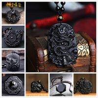 Obsidian lobo cabeça dragão foto tengfeng oito diagramas pingente ruyi elefante guanyin buddha jóias colar